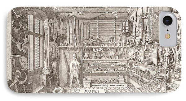Museum Of Ole Worm, Leiden, 1655 Engraving IPhone Case by G. Wingendorp