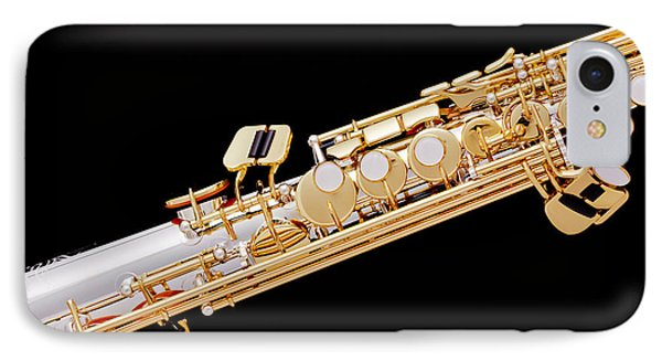 Music Photograph Of Soprano Saxophone In Color 3341.02 IPhone Case by M K  Miller