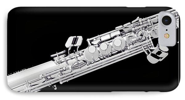 Music Photograph Of Soprano Saxophone In Sepia 3341.01 IPhone Case by M K  Miller