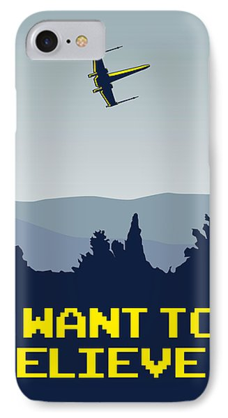 My I Want To Believe Minimal Poster- Xwing IPhone Case by Chungkong Art