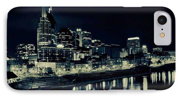 Nashville Skyline Reflected At Night IPhone 7 Case by Dan Sproul