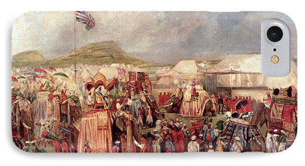 Native Princes Arriving In Camp For The Imperial Assemblage At Delhi, 1877 IPhone Case by George Landseer