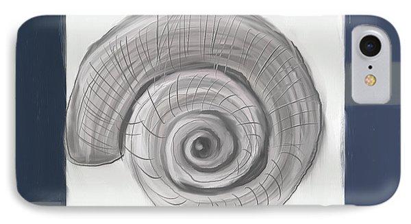 Navy Seashells II - Navy And Gray Art IPhone Case by Lourry Legarde