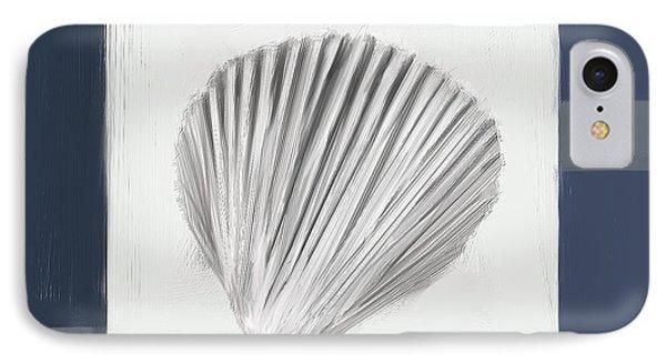 Navy Seashells V - Navy And Gray Art IPhone Case by Lourry Legarde