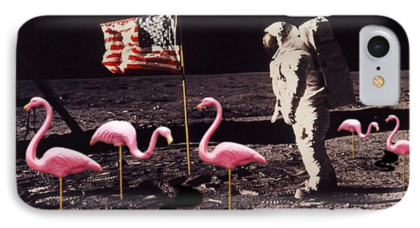 Neil Armstrong And Flamingos On The Moon IPhone Case by Tony Rubino