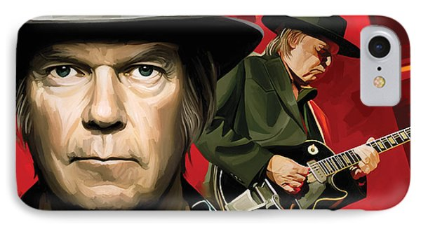 Neil Young Artwork IPhone Case by Sheraz A