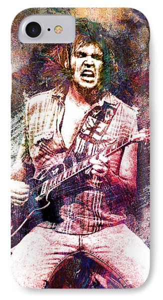 Neil Young Original Painting Print IPhone Case by Ryan Rock Artist