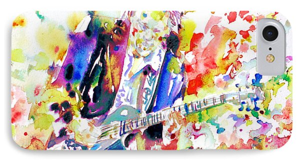 Neil Young Playing The Guitar - Watercolor Portrait.2 IPhone Case by Fabrizio Cassetta