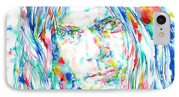 Neil Young - Watercolor Portrait IPhone Case by Fabrizio Cassetta