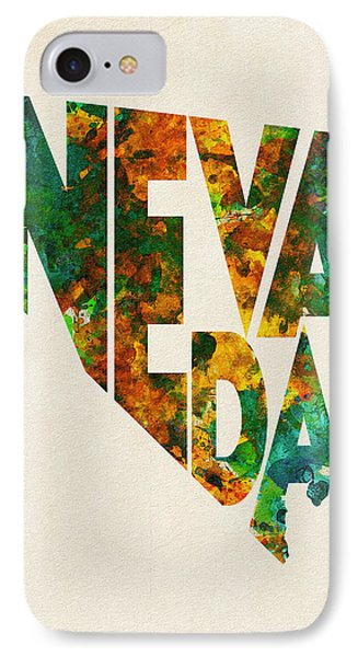 Nevada Typographic Watercolor Map IPhone Case by Ayse Deniz