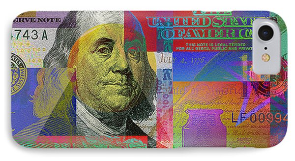 2009 Series Pop Art Colorized U. S. One Hundred Dollar Bill  V.3.0 IPhone Case by Serge Averbukh