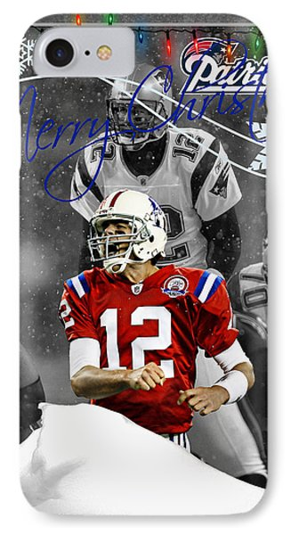 New England Patriots Christmas Card IPhone Case by Joe Hamilton