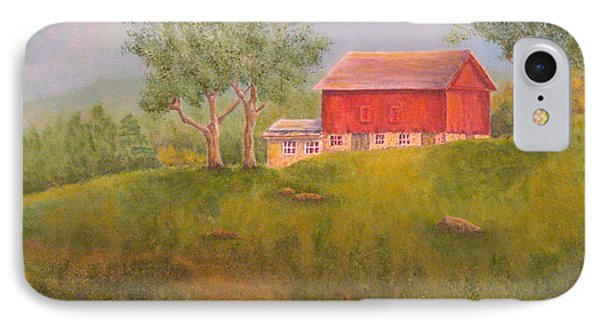 New England Red Barn At Sunrise IPhone Case by Pamela Allegretto