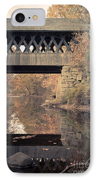 New Hampshire Covered Bridge Autumn IPhone Case by Edward Fielding