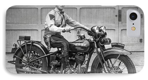New Jersey Motorcycle Trooper IPhone Case by Underwood Archives