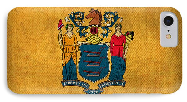 New Jersey State Flag Art On Worn Canvas IPhone Case by Design Turnpike