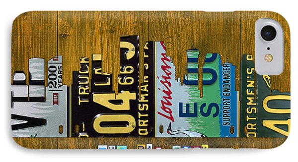 New Orleans Louisiana City Skyline Vintage License Plate Art On Wood IPhone Case by Design Turnpike