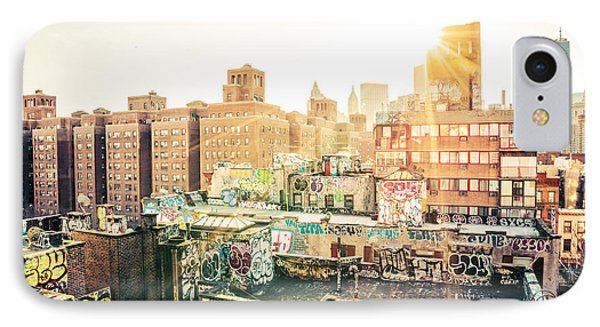 New York City - Graffiti Rooftops Of Chinatown At Sunset Phone Case by Vivienne Gucwa