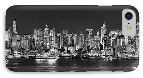 New York City Nyc Skyline Midtown Manhattan At Night Black And White IPhone Case by Jon Holiday