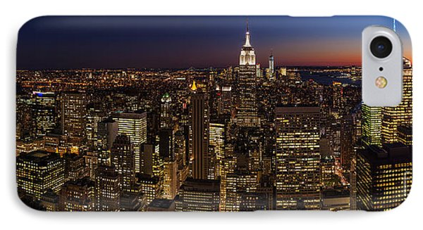 New York City Skyline At Dusk IPhone Case by Mike Reid
