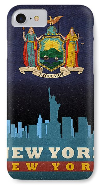 New York City Skyline State Flag Of New York Nyc Manhattan Art Poster Series 005 IPhone Case by Design Turnpike