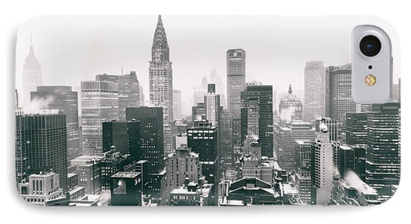 New York City - Snow-covered Skyline IPhone Case by Vivienne Gucwa