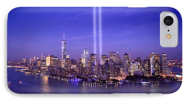 New York City Tribute In Lights World Trade Center Wtc Manhattan Nyc IPhone Case by Jon Holiday