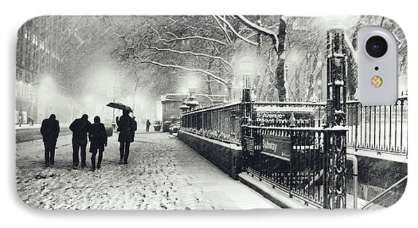New York City - Winter - Snow At Night IPhone Case by Vivienne Gucwa