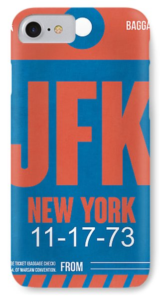 New York Luggage Tag Poster 1 IPhone Case by Naxart Studio
