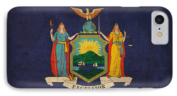 New York State Flag Art On Worn Canvas IPhone Case by Design Turnpike