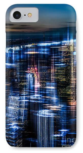 New York - The Night Awakes - Blue I Phone Case by Hannes Cmarits