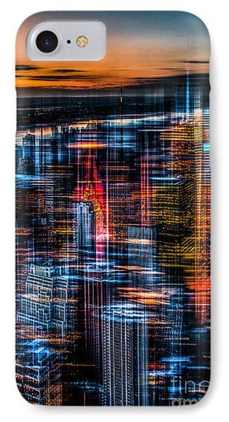 New York- The Night Awakes - Orange Phone Case by Hannes Cmarits