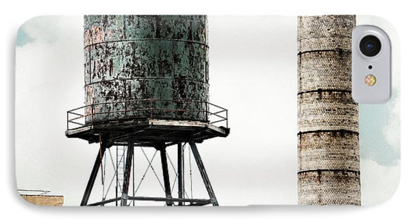 Water Tower And Smokestack In Brooklyn New York - New York Water Tower 12 IPhone Case by Gary Heller