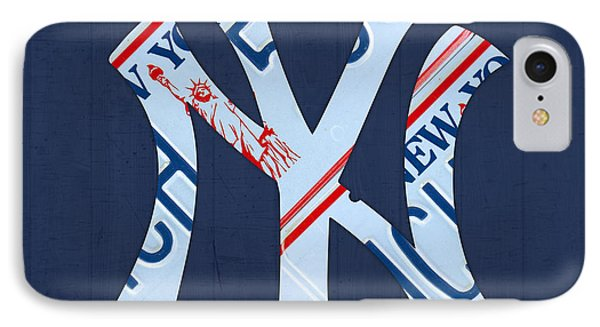 New York Yankees Baseball Team Vintage Logo Recycled Ny License Plate Art IPhone Case by Design Turnpike