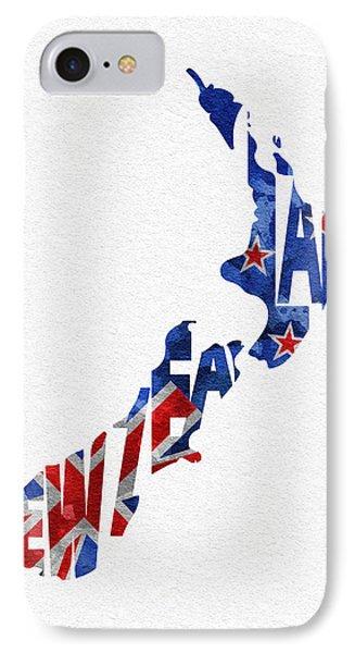 New Zealand Typographic Map Flag IPhone Case by Ayse Deniz