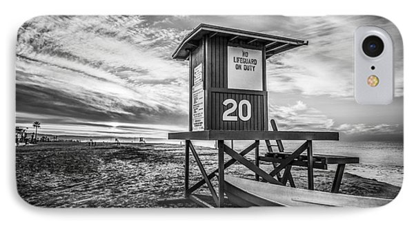 Newport Beach Lifeguard Tower 20 Black And White Photo IPhone Case by Paul Velgos