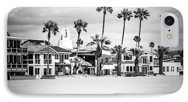 Newport Beach Oceanfront Homes Black And White Picture IPhone Case by Paul Velgos