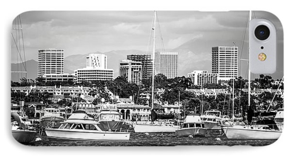 Newport Beach Skyline Black And White Picture IPhone Case by Paul Velgos