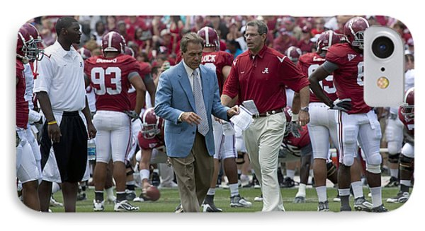 Nick Saban And The Tide IPhone Case by Mountain Dreams