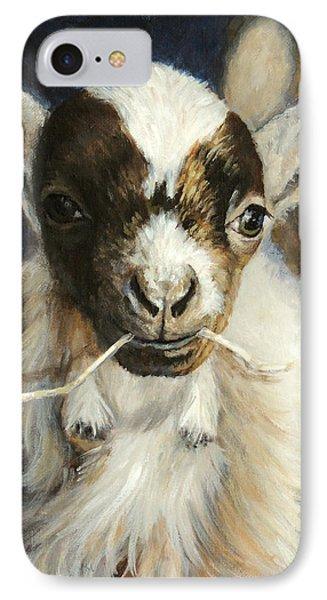 Nigerian Dwarf Goat With Straw IPhone Case by Dottie Dracos