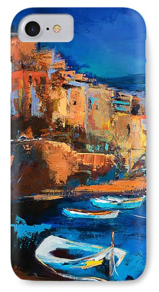 Night Colors Over Riomaggiore - Cinque Terre IPhone Case by Elise Palmigiani