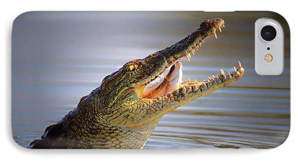 Nile Crocodile Swollowing Fish IPhone Case by Johan Swanepoel