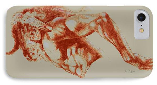 North American Minotaur Red Sketch IPhone Case by Derrick Higgins