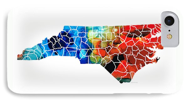 North Carolina - Colorful Wall Map By Sharon Cummings IPhone Case by Sharon Cummings