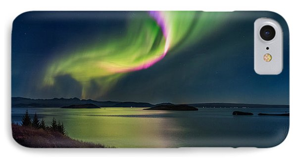 Northern Lights Over Thingvallavatn Or IPhone Case by Panoramic Images