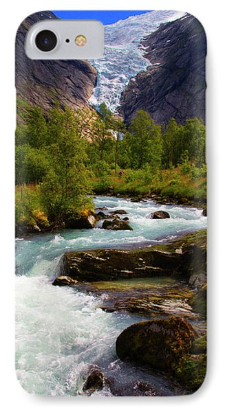 Norway Briksdal Glacier And River IPhone Case by Kymri Wilt