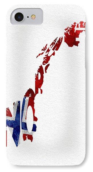 Norway Typographic Map Flag IPhone Case by Ayse Deniz