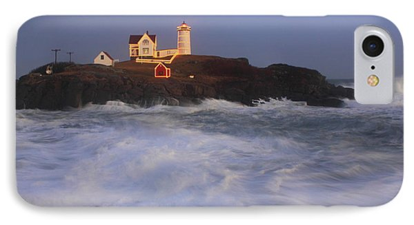 Nubble Lighthouse Holiday Lights And High Surf Phone Case by John Burk