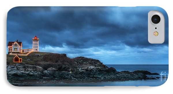 Nubble Lighthouse Before The Storm IPhone Case by Scott Thorp