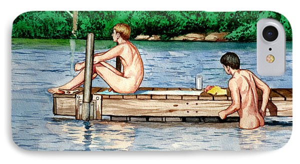 Nude Male Bathers On The Dock Phone Case by Christopher Shellhammer